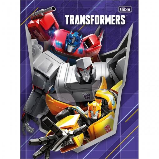 Caderno Brochura Capa Dura Universitário Transformers 80 Folhas (Pacote com 5 unidades) - Sortido