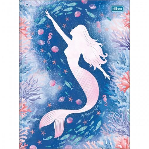 Caderno Brochura Capa Dura Universitário Wonder 80 Folhas - Mermaid for Life - Sortido