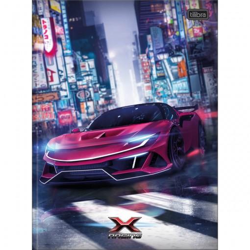Caderno Brochura Capa Dura Universitário X-Racing 80 Folhas - Carro Vermelho - Sortido