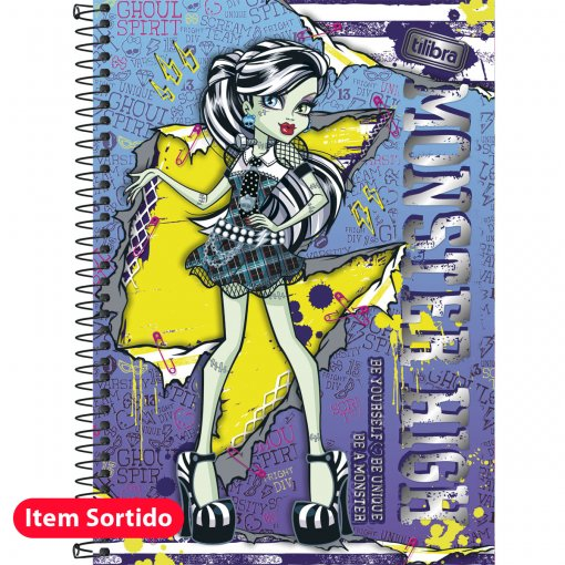 Caderno Capa Dura 1/4 Monster High 96 Folhas - Sortido