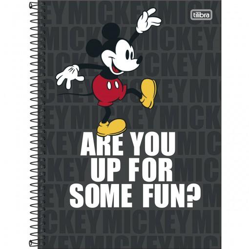 Caderno Capa Dura Universitário Mickey Light 10 Matérias 160 Folhas (Pacote com 4 unidades) - Sortido