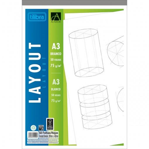 Caderno Colado Layout A3 Branco Académie 50 Folhas