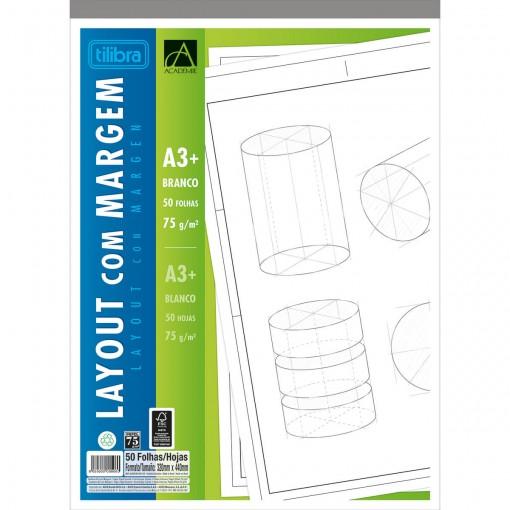 Caderno Colado Layout A3 Branco com Margem Académie 50 Folhas