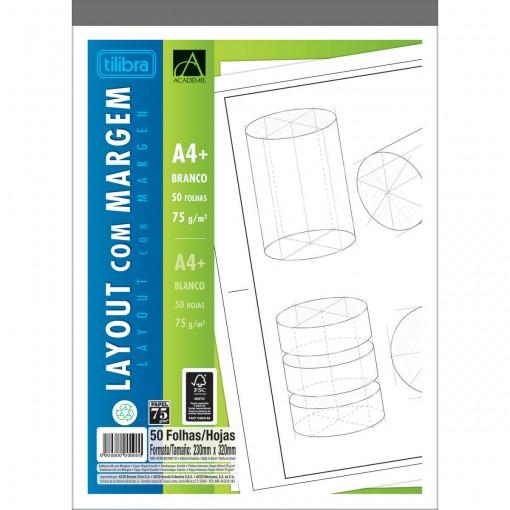 Caderno Colado Layout A4 com Margem Académie 50 Folhas