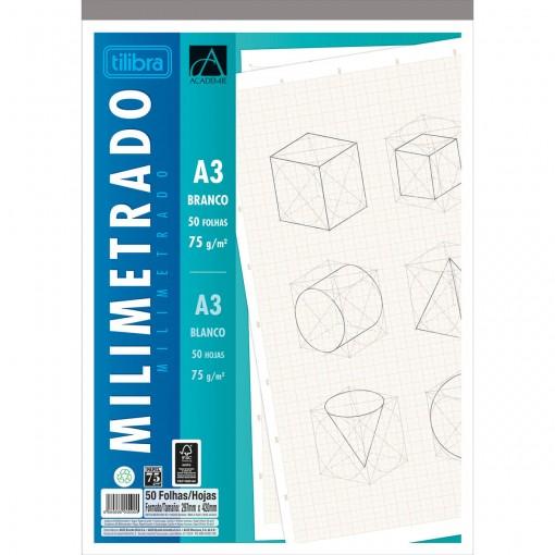 Caderno Colado Milimetrado A3 Branco Académie 50 Folhas