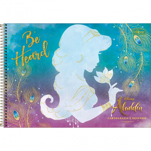 Caderno de Cartografia e Desenho Espiral Capa Dura Aladdin 80 Folhas (Pacote com 4 unidades) - Sortido