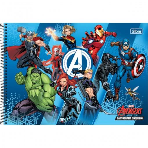 Caderno de Cartografia e Desenho Espiral Capa Dura Avengers 80 Folhas (Pacote com 4 unidades) - Sortido