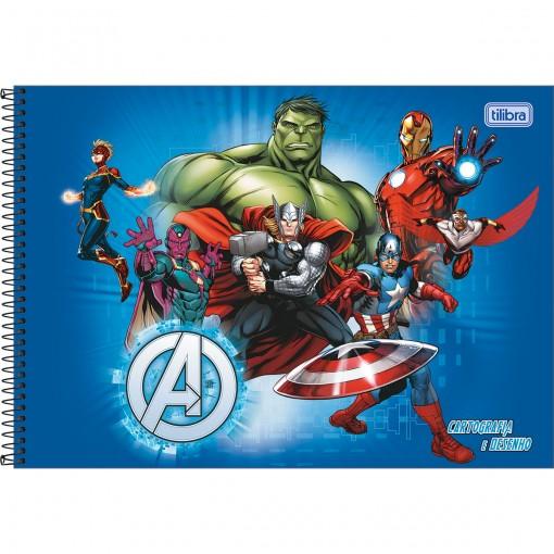 Caderno de Cartografia e Desenho Espiral Capa Dura Avengers 80 Folhas - Vários Heróis Fundo Azul - Sortido