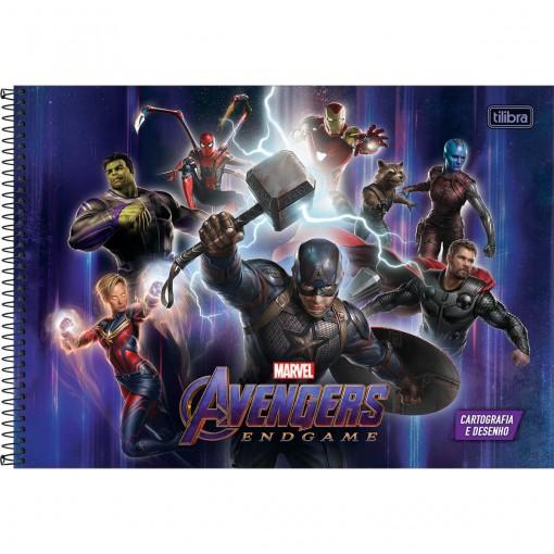 Caderno de Cartografia e Desenho Espiral Capa Dura Avengers Endgame 80 Folhas (Pacote com 4 unidades) - Sortido