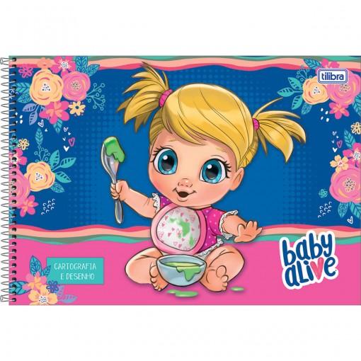 Caderno de Cartografia e Desenho Espiral Capa Dura Baby Alive 80 Folhas - Sortido