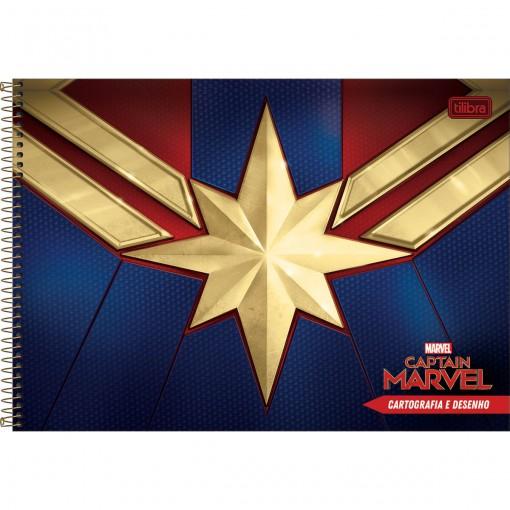 Caderno de Cartografia e Desenho Espiral Capa Dura Capitã Marvel 80 Folhas (Pacote com 4 unidades) - Sortido