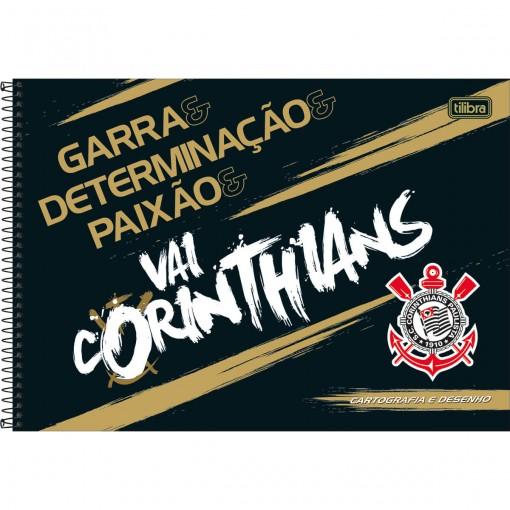 Caderno de Cartografia e Desenho Espiral Capa Dura Corinthians 80 Folhas (Pacote com 4 unidades) - Sortido