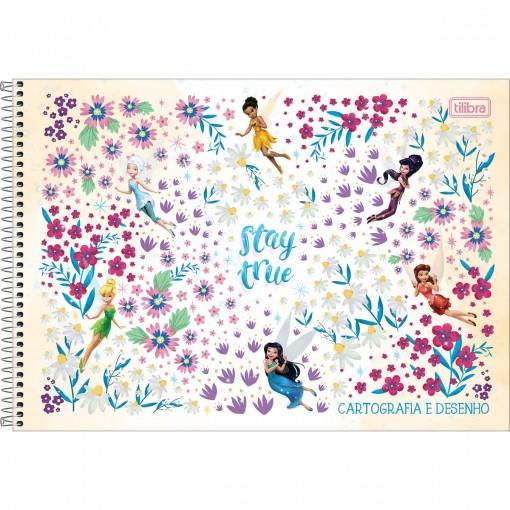 Caderno de Cartografia e Desenho Espiral Capa Dura Fadas 80 Folhas (Pacote com 4 unidades) - Sortido