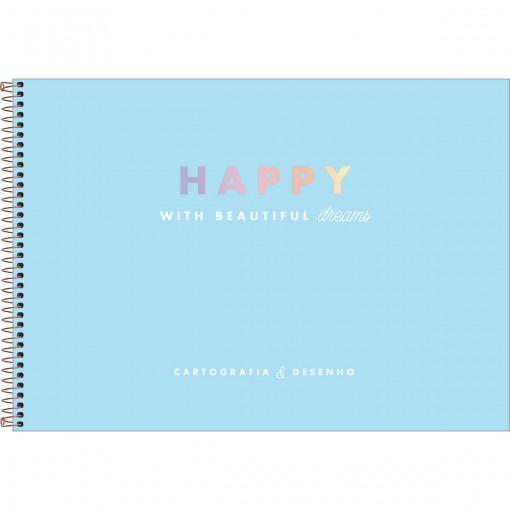 Caderno de Cartografia e Desenho Espiral Capa Dura Happy 80 Folhas - Azul - Sortido