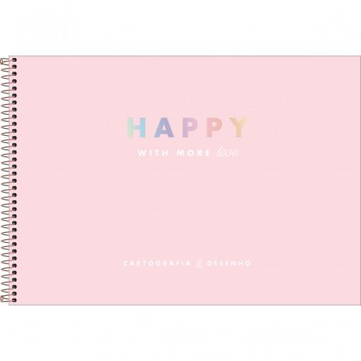 Caderno de Cartografia e Desenho Espiral Capa Dura Happy 80 Folhas (Pacote com 4 unidades) - Sortido