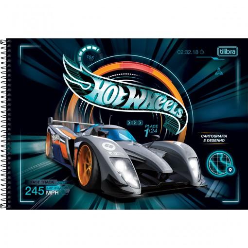 Caderno de Cartografia e Desenho Espiral Capa Dura Hot Wheels 80 Folhas (Pacote com 4 unidades) - Sortido