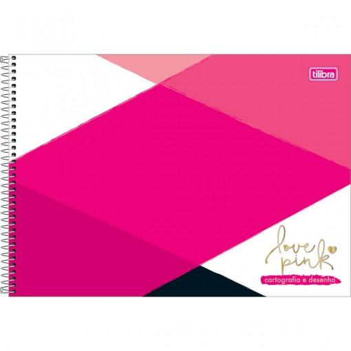 Caderno de Cartografia e Desenho Espiral Capa Dura Love Pink 96 Folhas (Pacote com 4 unidades) - Sortido