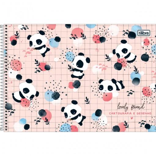 Caderno de Cartografia e Desenho Espiral Capa Dura Lovely Friend 80 Folhas (Pacote com 4 unidades) - Sortido