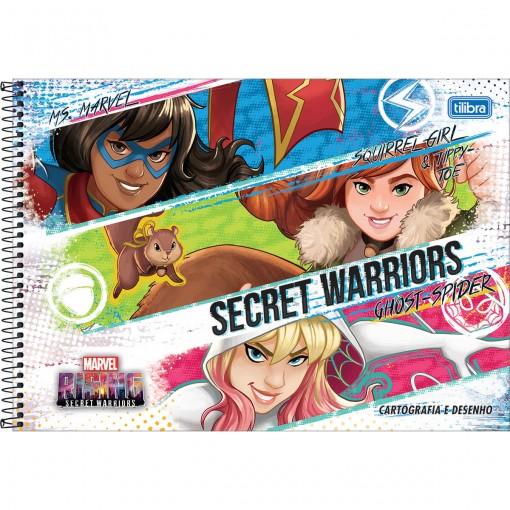 Caderno de Cartografia e Desenho Espiral Capa Dura Marvel Rising 80 Folhas (Pacote com 4 unidades) - Sortido