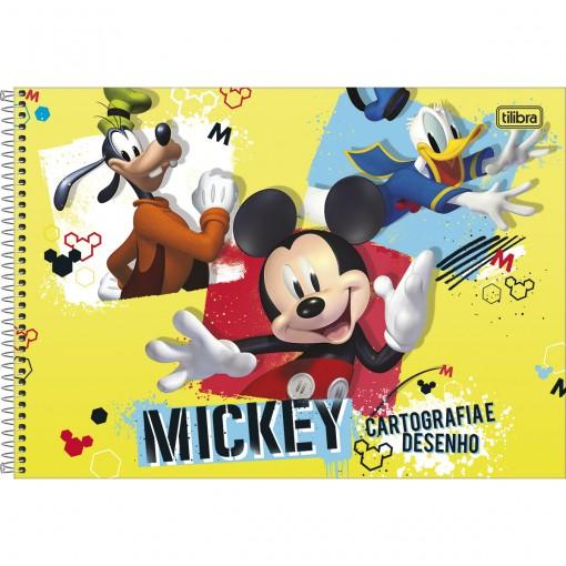 Caderno de Cartografia e Desenho Espiral Capa Dura Mickey 80 Folhas (Pacote com 4 unidades) - Sortido