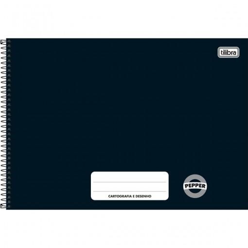 Caderno de Cartografia e Desenho Espiral Capa Dura Pepper Preto 80 Folhas