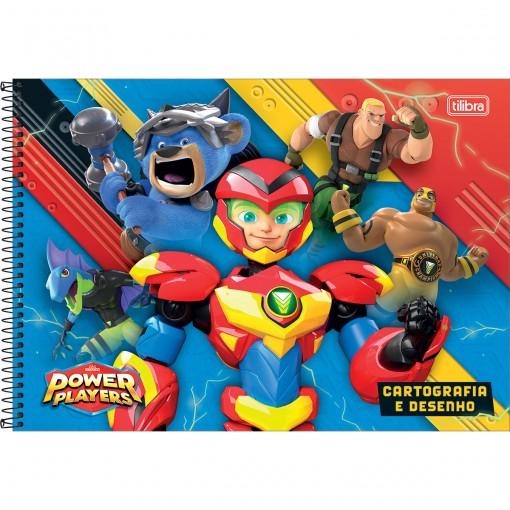 Caderno de Cartografia e Desenho Espiral Capa Dura Power Players 80 Folhas (Pacote com 4 unidades) - Sortido