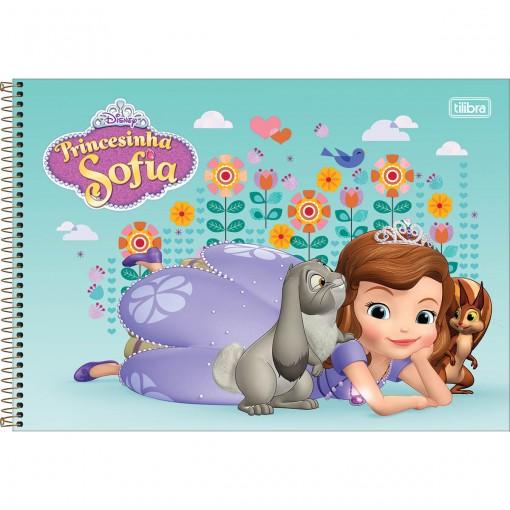 Caderno de Cartografia e Desenho Espiral Capa Dura Princesinha Sofia 80 Folhas (Pacote com 4 unidades) - Sortido