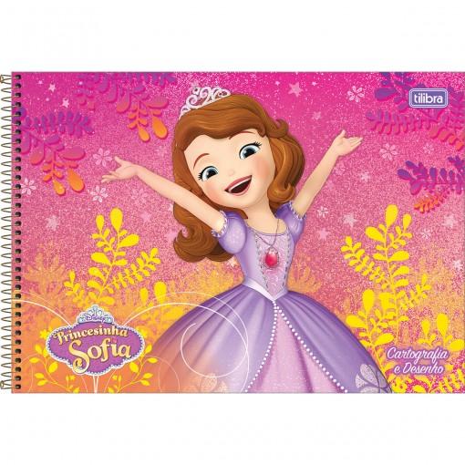 Caderno de Cartografia e Desenho Espiral Capa Dura Princesinha Sofia 96 Folhas (Pacote com 4 unidades) - Sortido
