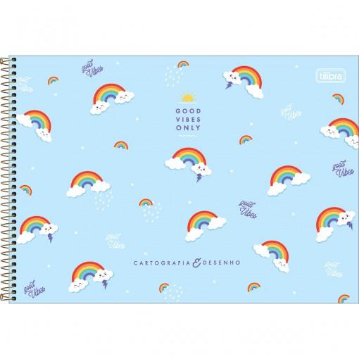 Caderno de Cartografia e Desenho Espiral Capa Dura Rainbow 80 Folhas (Pacote com 4 unidades) - Sortido