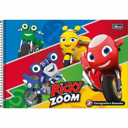 Caderno de Cartografia e Desenho Espiral Capa Dura Ricky Zoom 80 Folhas (Pacote com 4 unidades) - Sortido