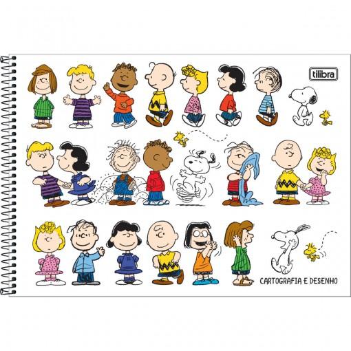 Caderno de Cartografia e Desenho Espiral Capa Dura Snoopy 80 Folhas (Pacote com 4 unidades) - Sortido