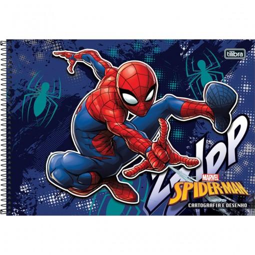 Caderno de Cartografia e Desenho Espiral Capa Dura Spider-Man 96 Folhas (Pacote com 4 unidades) - Sortido