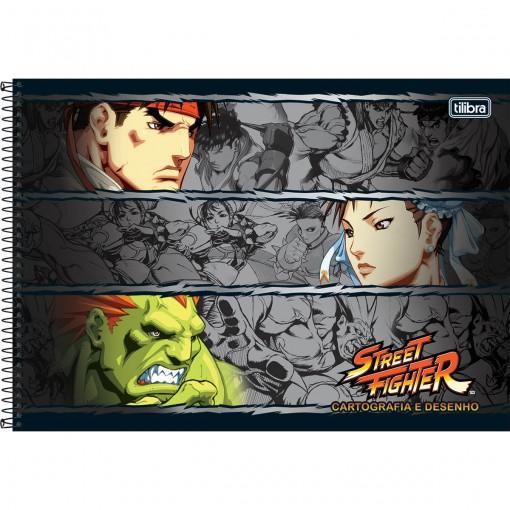 Caderno de Cartografia e Desenho Espiral Capa Dura Street Fighter 80 Folhas (Pacote com 4 unidades) - Sortido