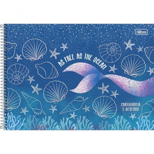 Caderno de Cartografia e Desenho Espiral Capa Dura Wonder 80 Folhas - As Free As The Ocean - Sortido
