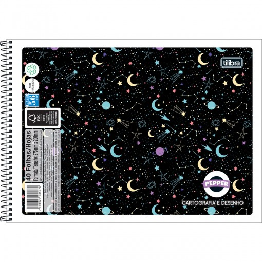 Caderno de Cartografia e Desenho Espiral Capa Flexível Masc./Fem. Pepper 40 Folhas (Pacote com 8 unidades) - Sortido