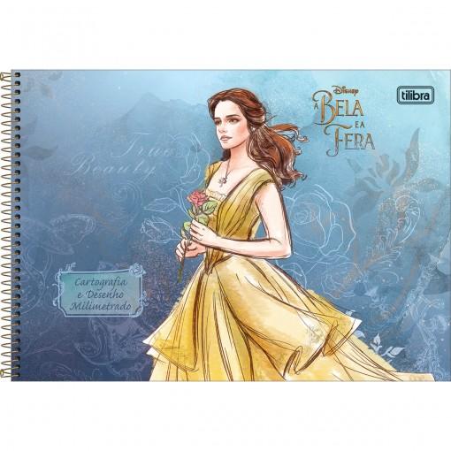 Caderno de Cartografia e Desenho Milimetrado Espiral Capa Dura A Bela e a Fera 80 Folhas (Pacote com 4 unidades) - Sortido