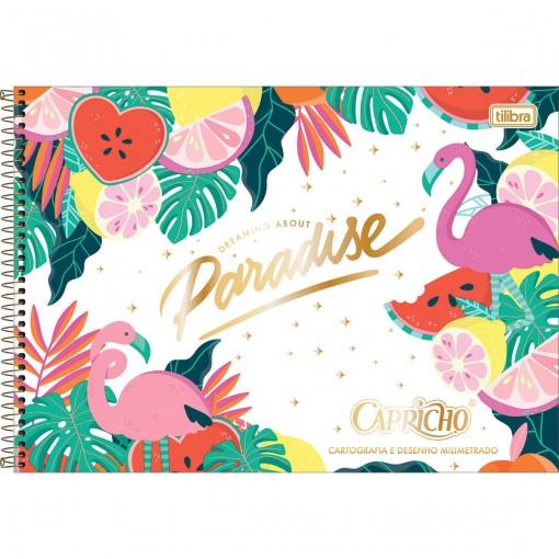 Caderno de Cartografia e Desenho Milimetrado Espiral Capa Dura Capricho 80 Folhas - Paradise - Sortido