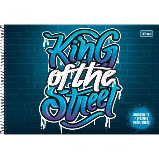 Caderno de Cartografia e Desenho Milimetrado Espiral Capa Dura Graffiti 80 Folhas (Pacote com 4 unidades) - Sortido