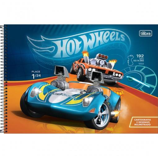 Caderno de Cartografia e Desenho Milimetrado Espiral Capa Dura Hot Wheels 80 Folhas (Pacote com 4 unidades) - Sortido