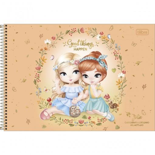 Caderno de Cartografia e Desenho Milimetrado Espiral Capa Dura Jolie 80 Folhas (Pacote com 4 unidades) - Sortido