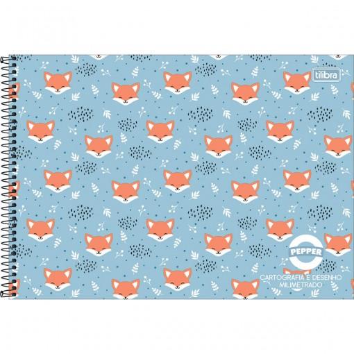 Caderno de Cartografia e Desenho Milimetrado Espiral Capa Dura Masc./Fem. Pepper 80 Folhas (Pacote com 4 unidades) - Sortido