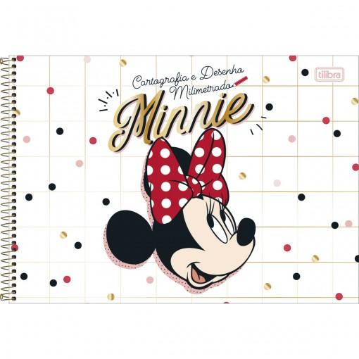 Caderno de Cartografia e Desenho Milimetrado Espiral Capa Dura Minnie 80 Folhas (Pacote com 4 unidades) - Sortido