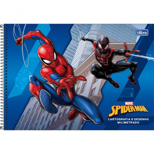 Caderno de Cartografia e Desenho Milimetrado Espiral Capa Dura Spider-Man 80 Folhas (Pacote com 4 unidades) - Sortido