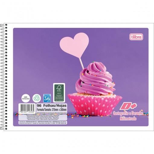 Caderno de Cartografia e Desenho Milimetrado Espiral Capa Flexível D+ 96 Folhas (Pacote com 5 unidades) - Sortido