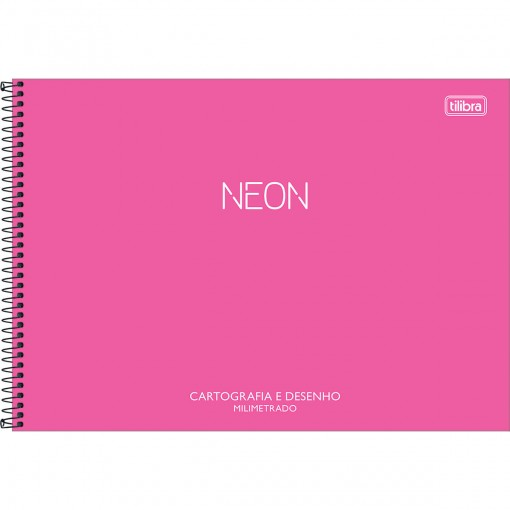 Caderno de Cartografia e Desenho Milimetrado Espiral Capa Plástica Neon 80 Folhas (Pacote com 4 unidades) - Sortido