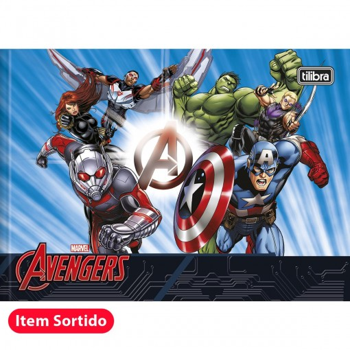 Caderno De Desenho Brochura Capa Dura Avengers 40 Folhas Pacote