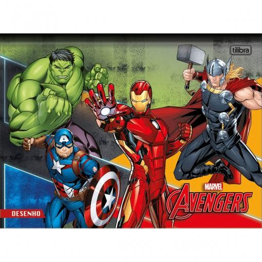 Caderno de Desenho Brochura Universitário Capa Dura Avengers 80 Folhas (Pacote com 5 unidades) - Sortido