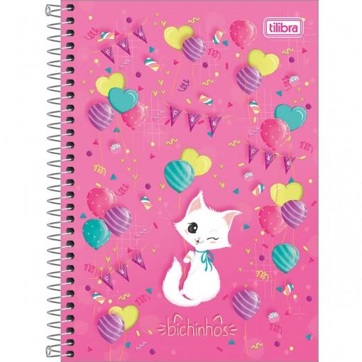 Caderno Espiral Capa Dura 1/4 Bichinhos 80 Folhas (Pacote com 4 unidades) - Sortido