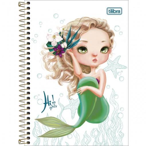 Caderno Espiral Capa Dura 1/4 Hi! Girls 96 Folhas - Sortido (Pacote com 4 unidades)