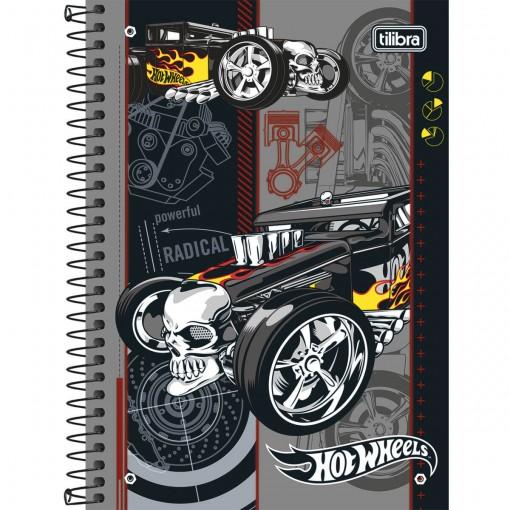 Caderno Espiral Capa Dura 1/4 Hot Wheels 96 Folhas (Pacote com 5 unidades) - Sortido